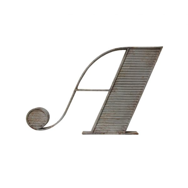 HKliving letter 'A' with antique look grey metal (AOA9012-tutze.nl)